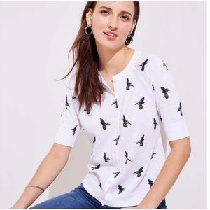 LOFT White Hummingbird Short Sleeve Cardig…